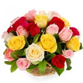 Mixed Colour Roses Basket