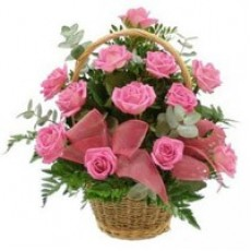 30 Pink Roses Basket