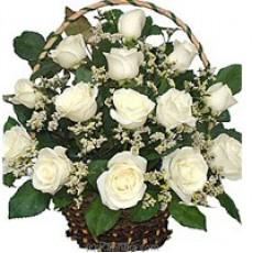 White Roses Basket