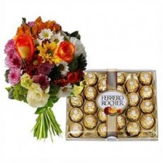 Mixed Flowers Bunch & Ferrero Rocher 24pcs