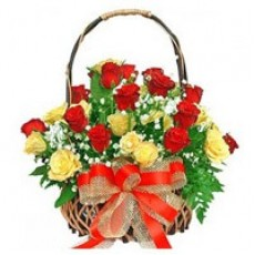 Yellow and Red Roses Basket